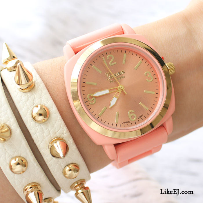 Peach Silicone Strap Watch - LikeEJ - 1