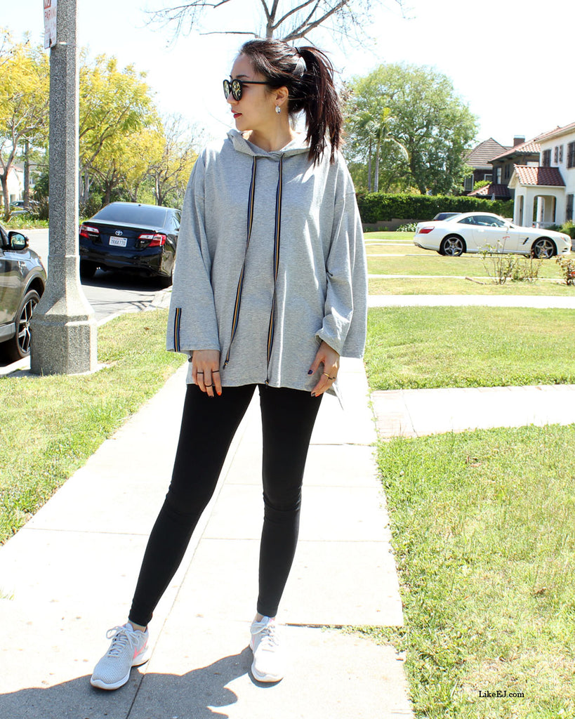 Oversized colorful drawstring  hoodie