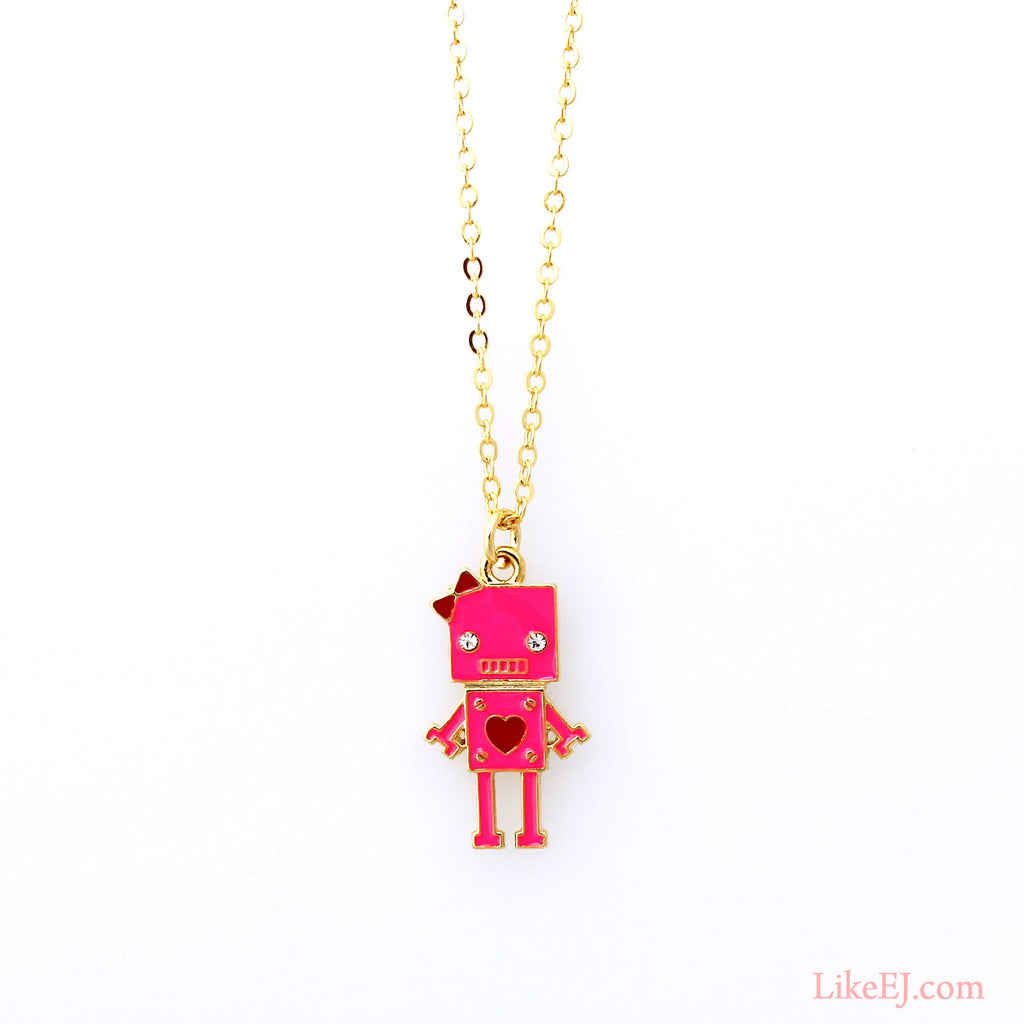 Pink Robot Necklace - LikeEJ