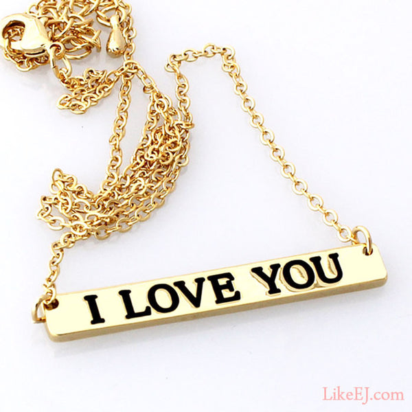 I Love You Bar Necklace - LikeEJ - 1