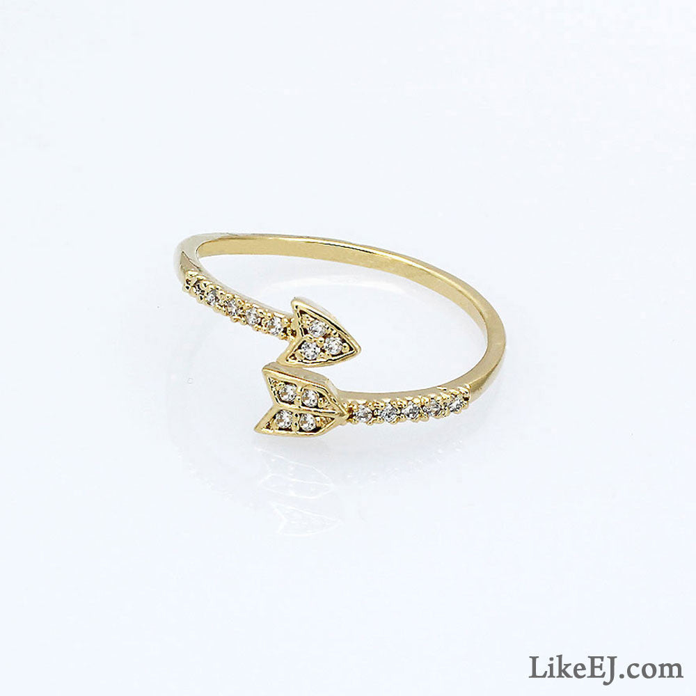 Crystal Gold Arrow Ring - LikeEJ - 1