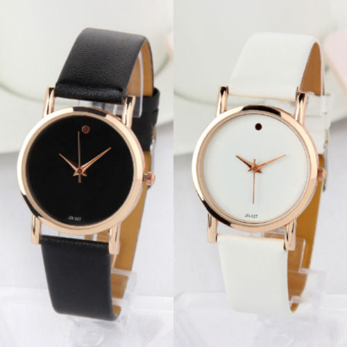Luxury Stylish Fashion Dot Design Leather Analog Quartz Wrist Watch