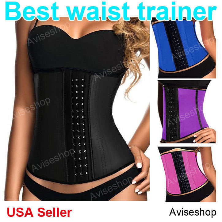 US #1 Color Underbust Waist Trainer Cincher Corset Girdle Workout Belt Shaper