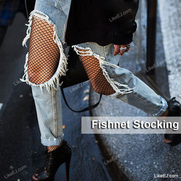 Trendy Fashion Fishnet Pantyhose One Size Fits Most Stocking Black