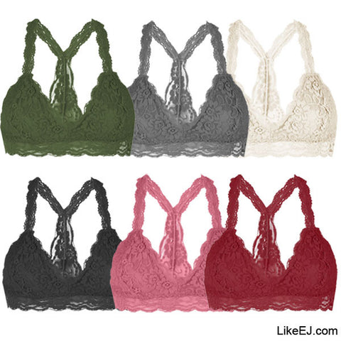 Floral Sheer Lace Triangle Y Unpadded Mesh Lined Bralette Bra lace Top