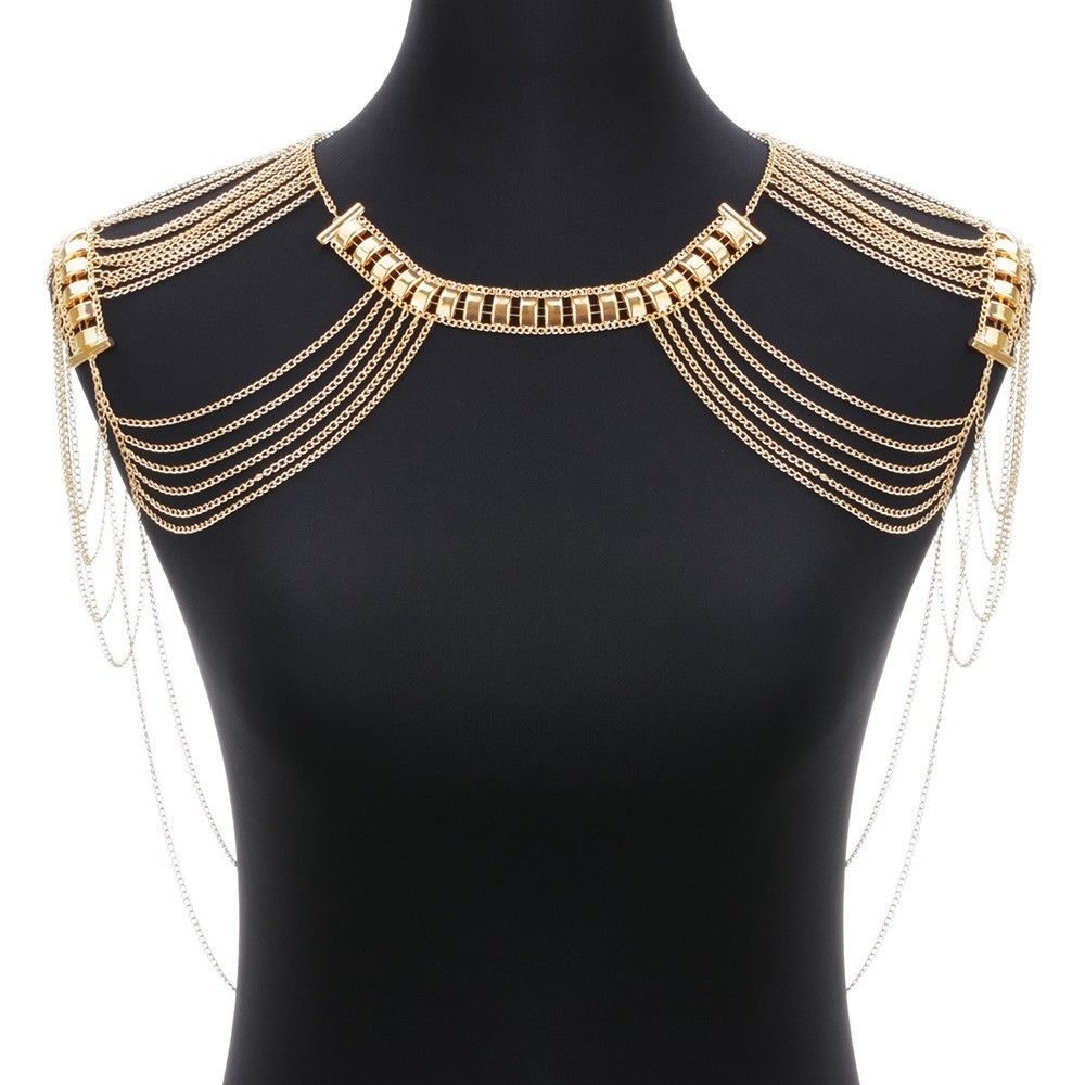 Retro Gold Punk Shoulder Body Tassel Chain Link Harness Necklace Jewelry
