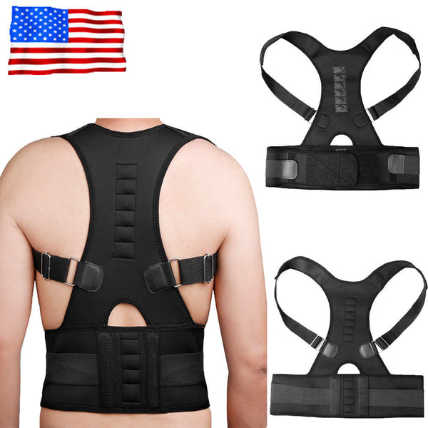 Magnetic Therapy Posture Corrector Body Back Pain Belt Brace Shoulder Support #A-4 - LikeEJ - 1