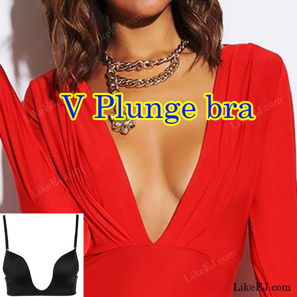 Best Selling #1 Super Ultra Deep U Plunge Push up V Bra 3 Way Straps Convertible Maximum Cleavage Top