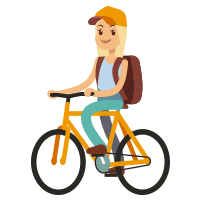female wearing a hat with a backpack on a bicycle