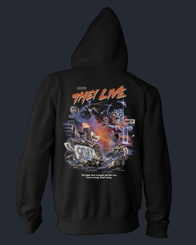 John Carpenter's They Live - Zippered Hoodie Hoodie Fright-Rags