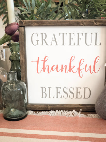 Grateful thankful blessed handpainted sign