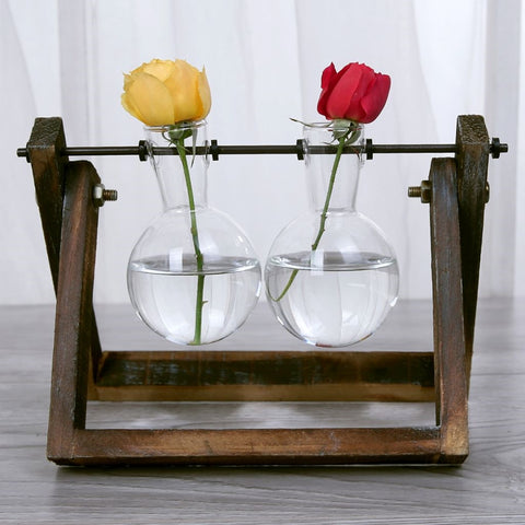 Double Vase & Wood Stand