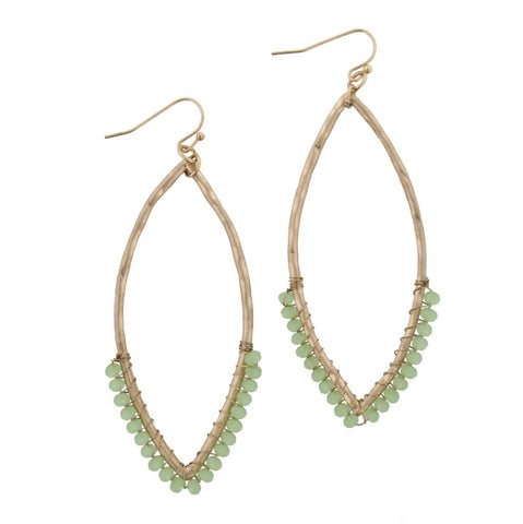 Green Wire Pointed Oval Earrings