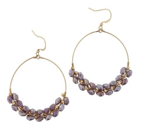 Beaded Wire Purple Earrings