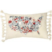 Floral USA Map Pillow