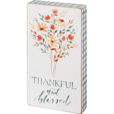 Thankful & Blessed Block Sign
