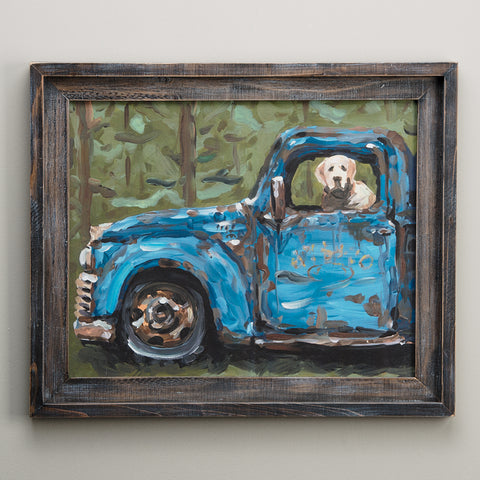 Dog In Truck Framed Canvas