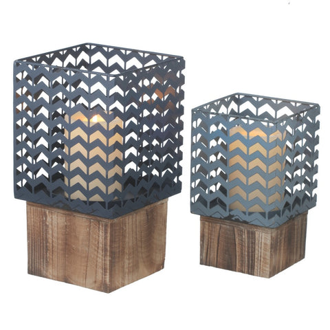 Blue Wood Base Candle Holder Set of 2