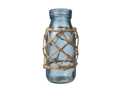 Blue Jar Vase w/Rope