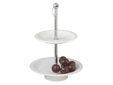 2-Tier Serving Tray, White Ceramic