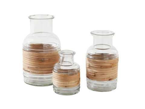 Cane Wrap Vase, 3 Piece Set