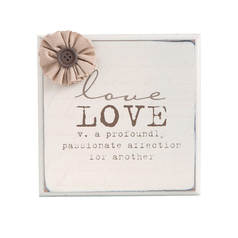 Love Plaque w/Flowers