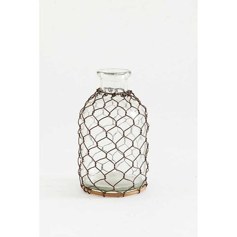 Glass Bottle with Mesh Netting