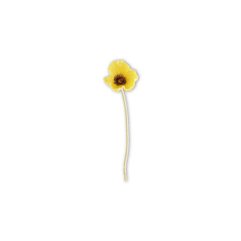 Yellow Real Touch Mini Poppy Stem