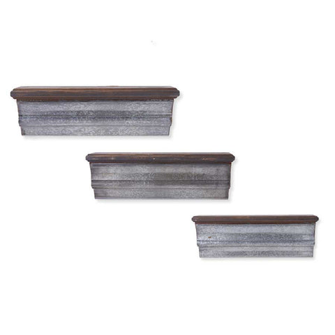 Wooden Shelves with Galvanized Front