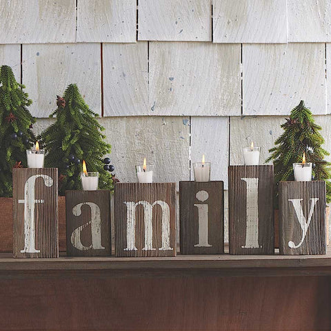 Family Barn Board Block Candles