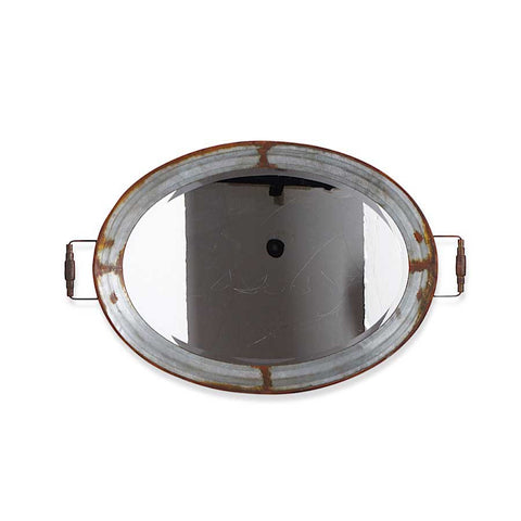Metal Framed Oval Mirror Tray, 38""