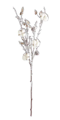 Icy Cotton Pod Stem, 34""