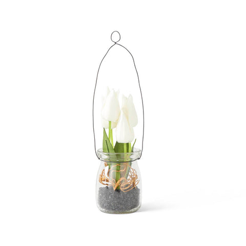 White Mini Tulip In Glass