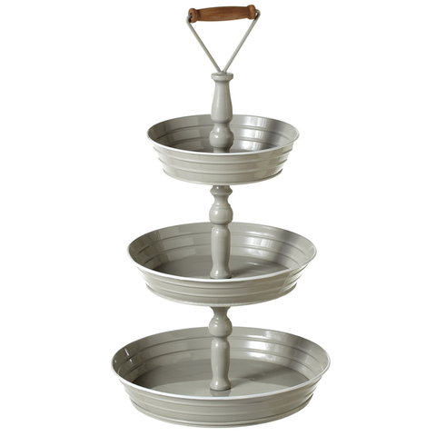 Gray Enamel 3 Tier Stand
