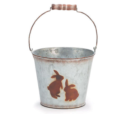 Galvanized Pail w/Bunnies