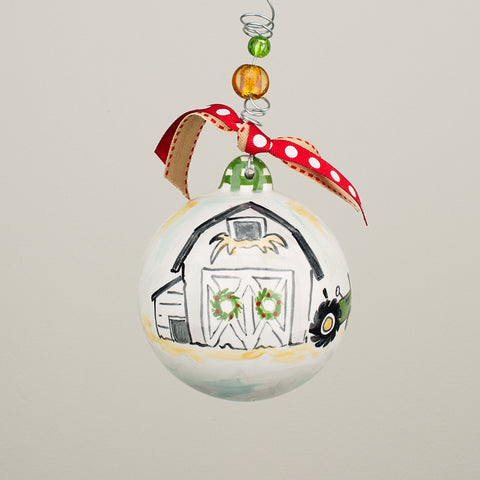 Barn & Tractor Ball Ornament