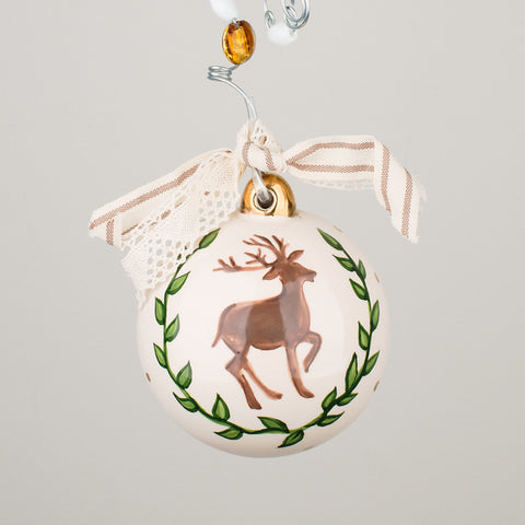 Deer & Laurel Ball Ornament