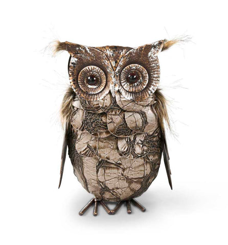 Metal Owl w/Feather Trim