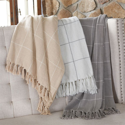 Windowpane Tassel Throw