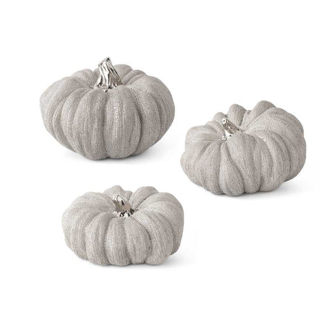 Silver Textured Ceramic Pumpkin