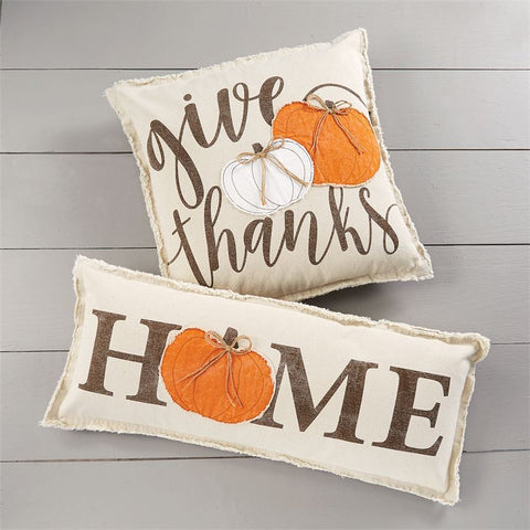 Applique Canvas Pumpkin Pillow