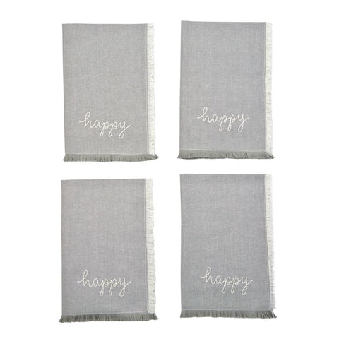 Happy Embroidered Napkins