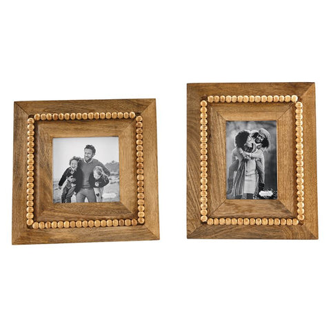 Beaded Natural Wood Frame