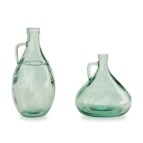 Handled Seafoam Glass Vase