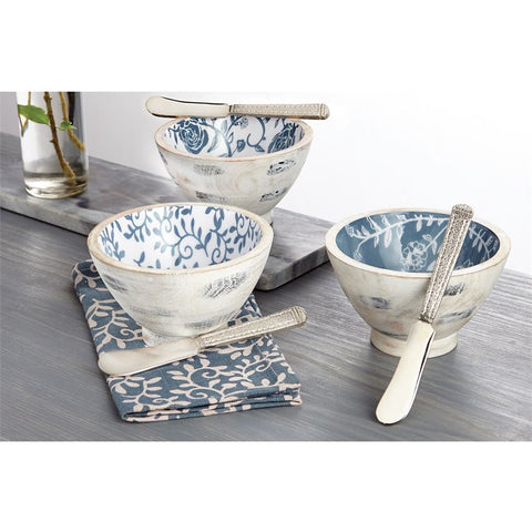 Wood & Enamel Dip Bowl Set