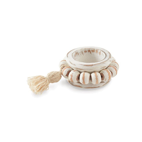 Beaded Wood Tassel Napkin Ring