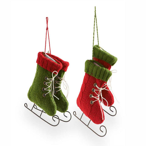 Red & Green Ice Skate Ornaments