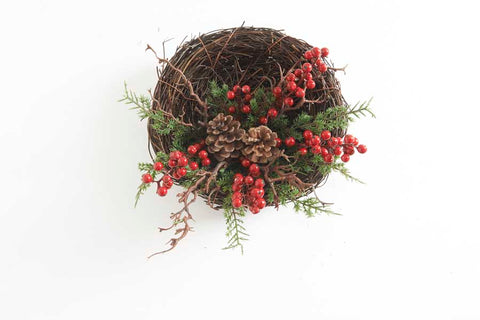 Red Berry & Pinecone Evergreen Twig Wreath