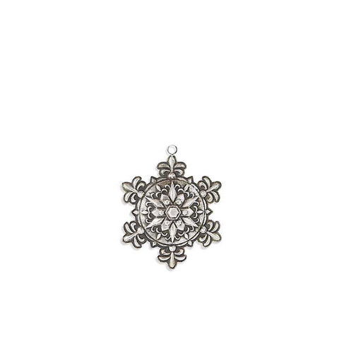 Antique Silver Metal Embossed Snowflake Ornament
