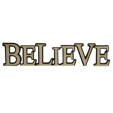 Raised Letter Believe Cutout